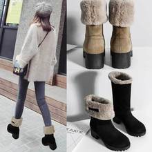 Short Boots Women 's Cotton Shoes Plush Wool Warm Thick Heel Middle Boots Snow Boots Winter Round Toe Round Head Viscose Shoes цена 2017