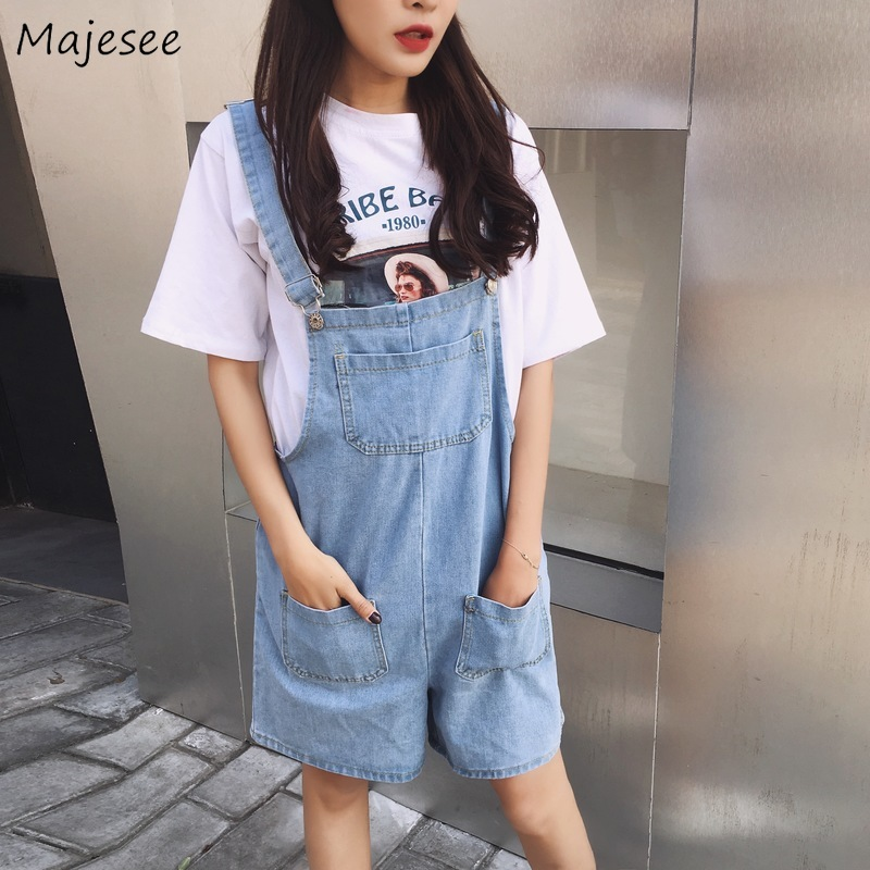 Rompers Women Casual Loose Harajuku Denim High Quality Womens Playsuits Pockets Vintage Korean Fashion Streetwear All Match Soft