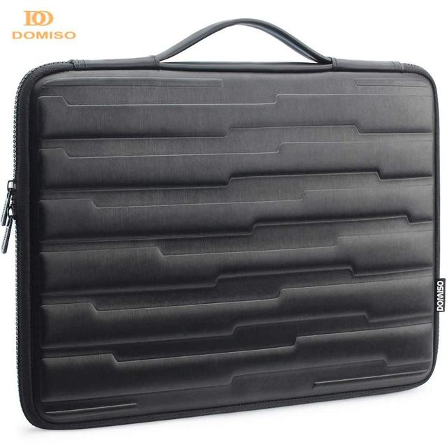 DOMISO 10 13 14 15.6 Inch Shock Resistant Laptop Bag with Handle Protective Case Compatible for Macbook Dell HP Lenovo Black