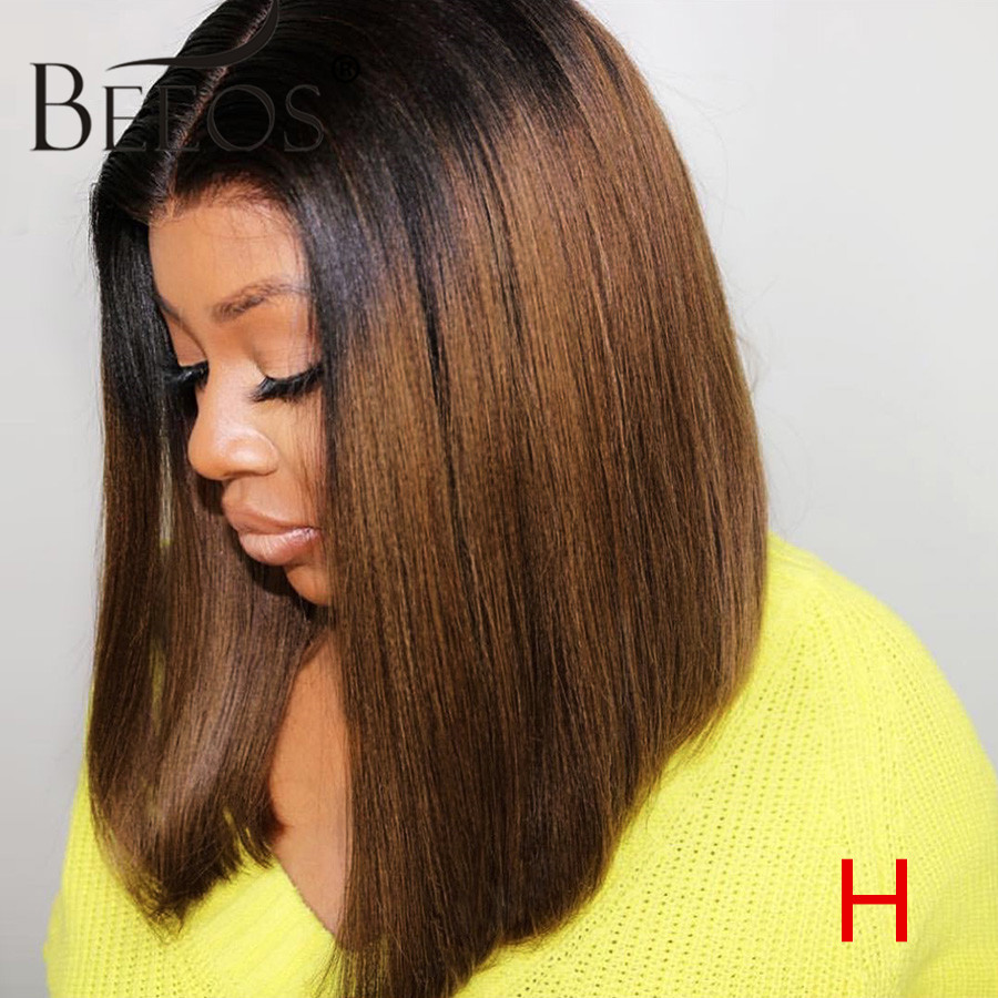 Beeos Ombre Brown 1b/30 13*6 Lace Front Human Hair Wig Straight Bob Pre Plucked Hair Line Brazilian Remy Hair Bleached Knots