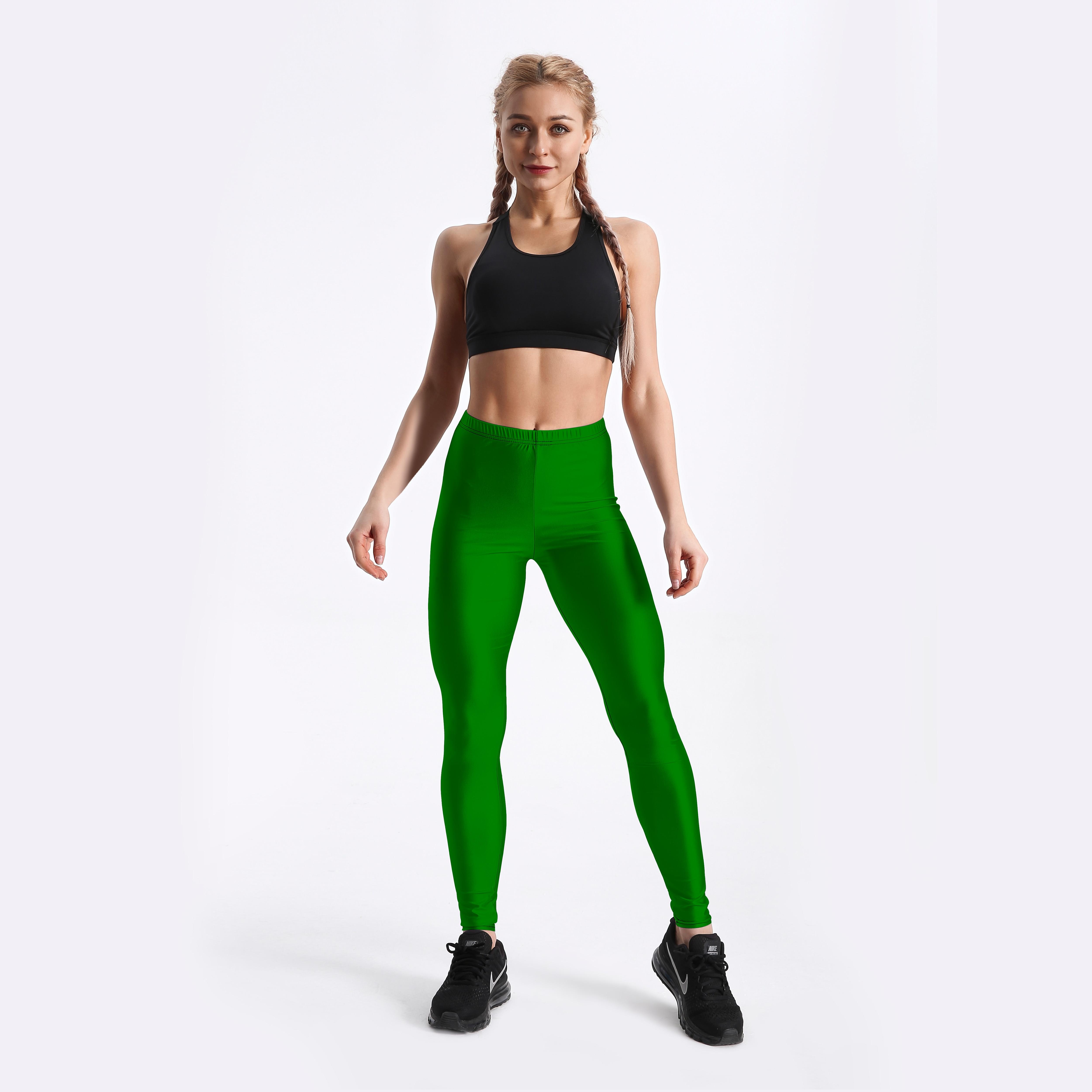 Qickitout Private Custom Dark Green  Leggings Customer Digital Printed Leggings  USA Size XS-XL Jk28-005