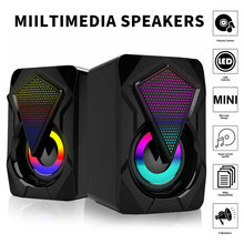 USB Wired Computer Speakers Colorful Lighting Effect RGB Speaker Computer Audio For PC Laptop Desktop Speakers Home Theater