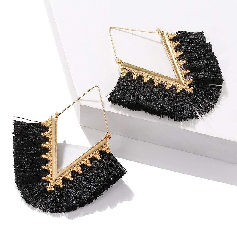 2020 New Tassel Earrings For Women Boheimian Retro V Shape Rope Fringes Drop Earrings Wedding Party Ethnic Dangle Earrings