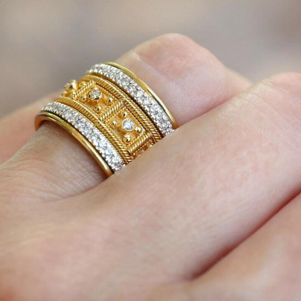 Великолепное Женское Обручальное кольцо с покрытием из 18-каратного желтого золота, женская бижутерия, размер 6-10, сапфировый белый F6A9