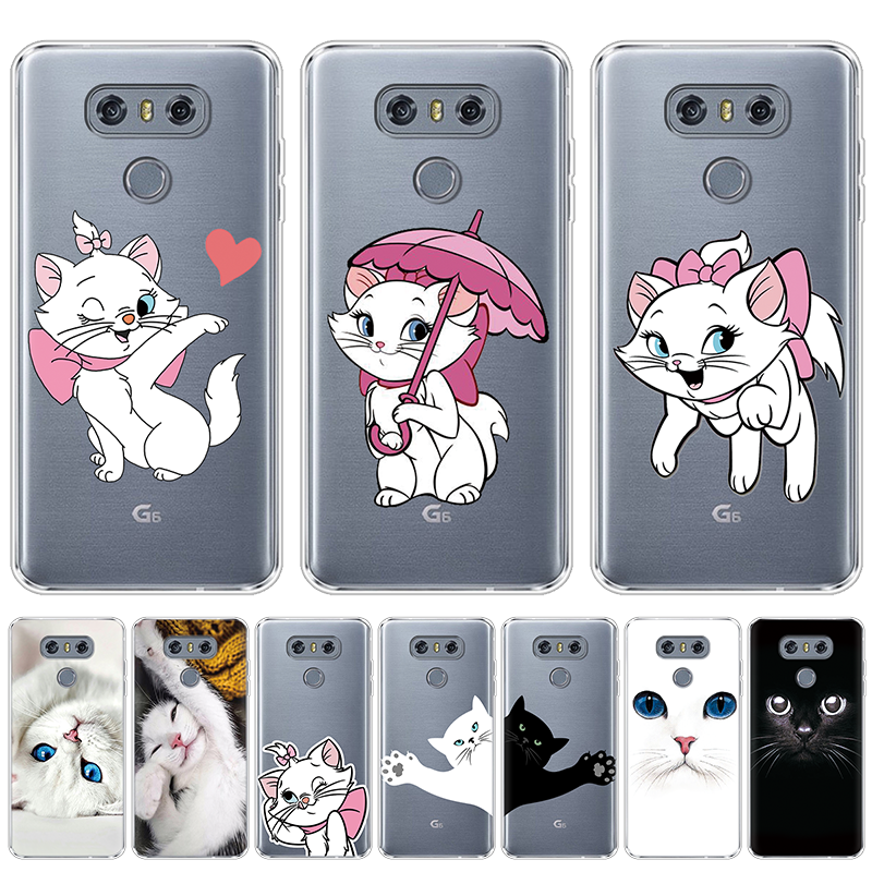 Cute Cartoon Cats Phone Case For <font><b>LG</b></font> Q60 Q7 Q6 K50 V30 V20 G8 ThinQ K8 K10 2017 <font><b>K11</b></font> Plus X power 2 Clear Silicone Soft Cover TPU image