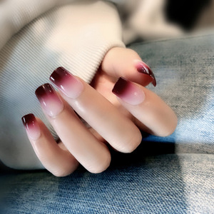Image 2 - 24 Pcs New Red Wine Gradient Color Long False Nails Fashion Popular Fake Nails For Ladies And Girls With Glue Stickers