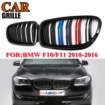 MagicKit Car Styling Pair Gloss Black Double Line Front Kidney Grilles For BMW F10 F18 F11 M5 535i 550i 528i 2010-16 4D M Color