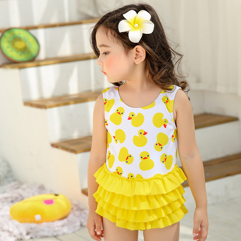 2019 New Style GIRL'S Swimsuit Small Yellow Duck Baby Dress-Bathing Suit Flounced Cute CHILDREN'S Swimsuit