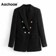 Vintage Jacket Coat Office-Wear Tweed Blazer Aachoae Black Double-Breasted Women Female
