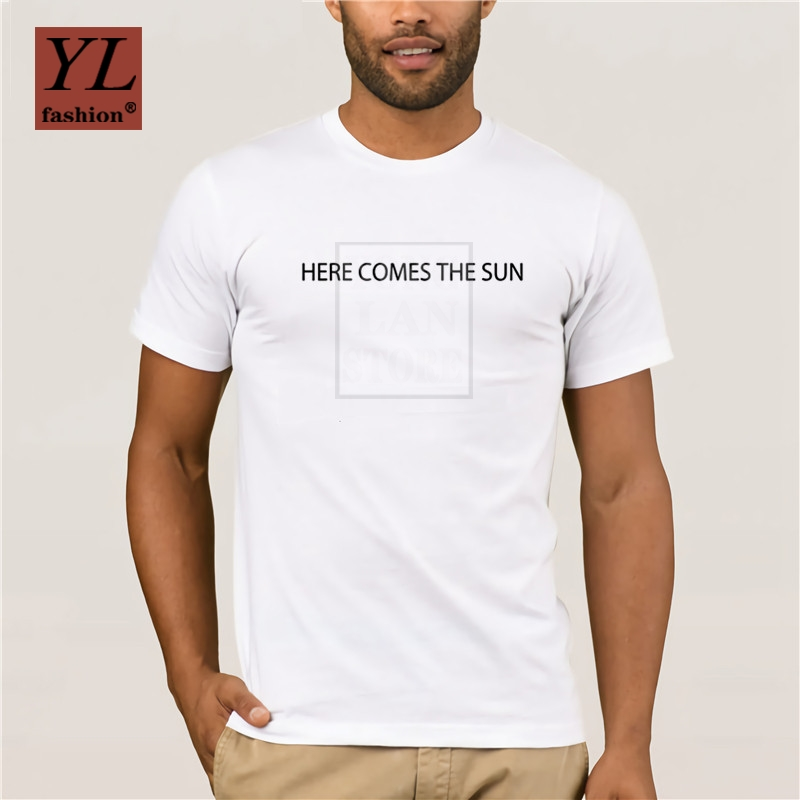 2020 Fashion Here Comes The Sun T Shirt Music Pop Songs Rock Bands TShirt EU Size 100 Cotton image