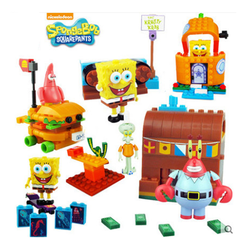 New Spongebob Toys Music Pineapple House Compatible Lepinngly Spongebob  SP-S001-004Building Blocks Toys For Kid Birthday Gift
