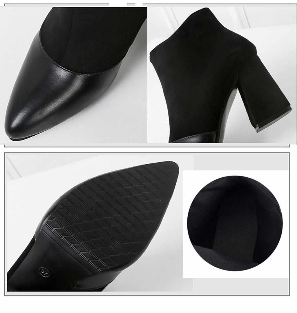 SAGACE Kadınlar Kış Çizmeler Kalın Topuk Kadın Sivri Burun yarım çizmeler platform ayakkabılar Kadın Süet Çalışma Flats Artı boyutu 35-40