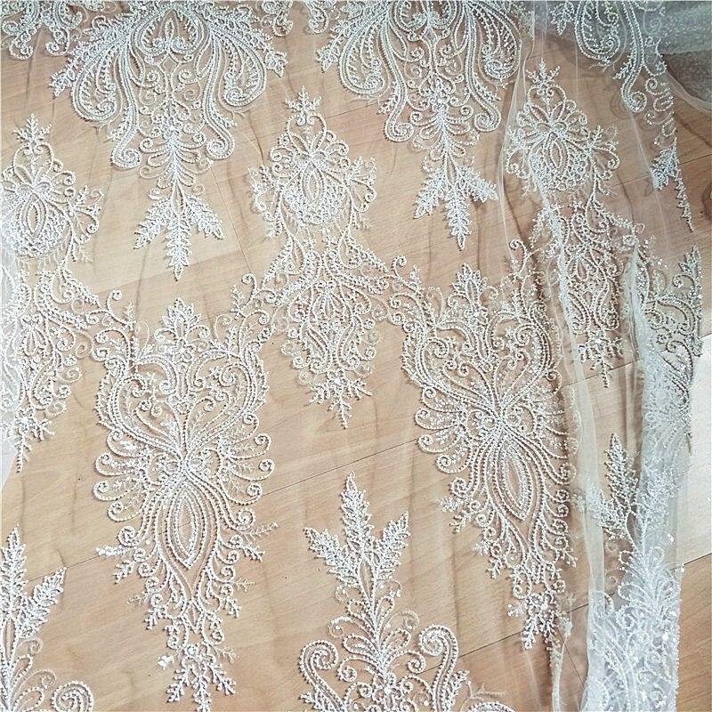 Perlé paillettes mariage dentelle tissu nouvelle fleur ivoire robe bricolage accessoires tissu RS2509