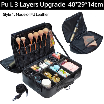 New 2017 High Quality Professional Empty Makeup Organizer Bolso Mujer Cosmetic Case Travel Large Capacity Storage Bag Suitcases 2