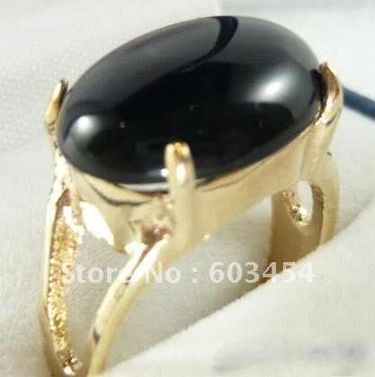 סיטונאי זול שחור אגת ירקן 18KGP זהב טבעת גודל: 7.8.9.10 & מתנה/משלוח