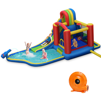 Inflatable Kid Bounce House Slide Climbing Splash Pool Jumping Castle w/ Blower