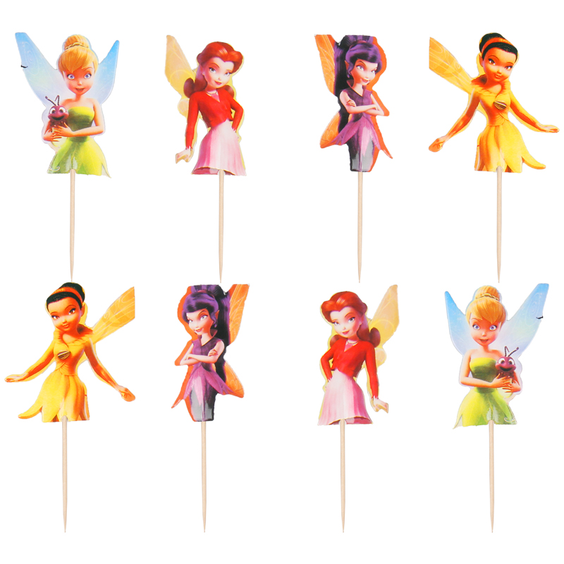 24pcs Fairy Flower Child Tinker Bell Cupcake Toppers Girls Kids Birthday Party