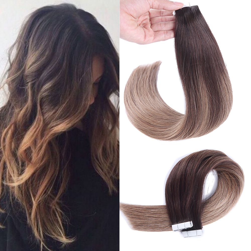 Sindra Tape Hair Extensions European Remy Human Hair Adhesive Extension 20pcs 40pcs Balyage Colors Skin Weft Straight Hair
