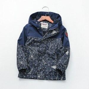 Image 5 - Детская хлопковая куртка с геометрическим принтом, 90 160 см