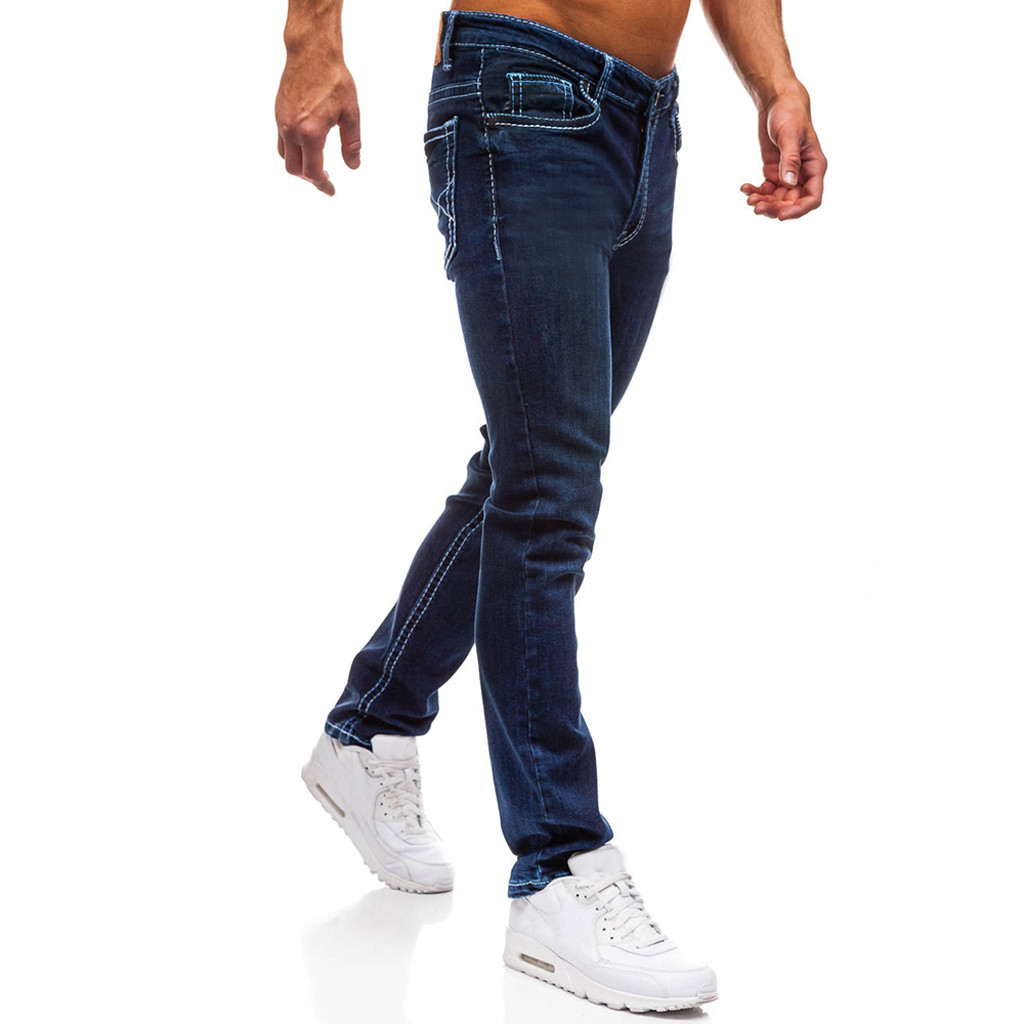 SAGACE Autumn And Winter Classic Men's Pocket Casual Solid Color Denim Trousers Breathable Loose Straight Jeans Men Comfortable