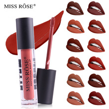 MISS ROSE Makeup 12 Color Matte Lip Gloss Transparent Tube Dumb Black Cover Is Not Easy To Color Waterproof Lip Gloss