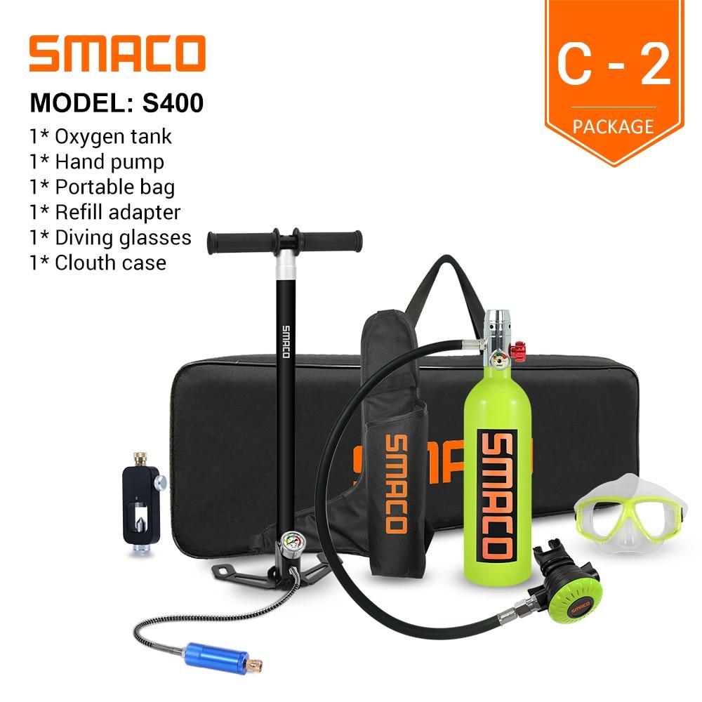 SMACO S400 Мини-резервуар для Акваланга, цилиндр для дайвинга с возможностью 16 минут, многоразовый дизайн емкостью 1 литр