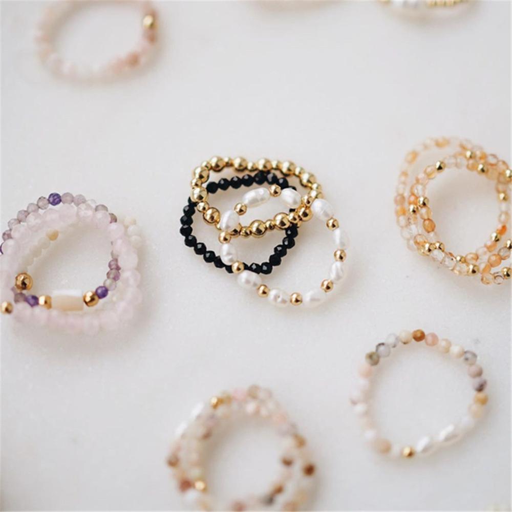 Todos feitos à mão de pedra natural frisado anéis presentes de natal para as mulheres boêmio jóias moda redonda anel festa
