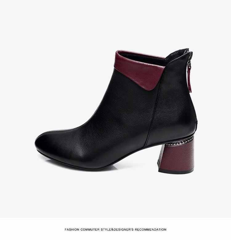 SWONCO 42 Mới Giày Người Phụ Nữ Thu đông 2019 Giày Cao Gót Cổ Chân Giày Nữ Size 35-40 Mùa Xuân Đen Giày Bốt Thời Trang văn phòng Da PU Khởi Động