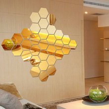 Wall-Stickers Mirrors Decorative Bedroom Living-Room Silver Golden Metallic Colorful