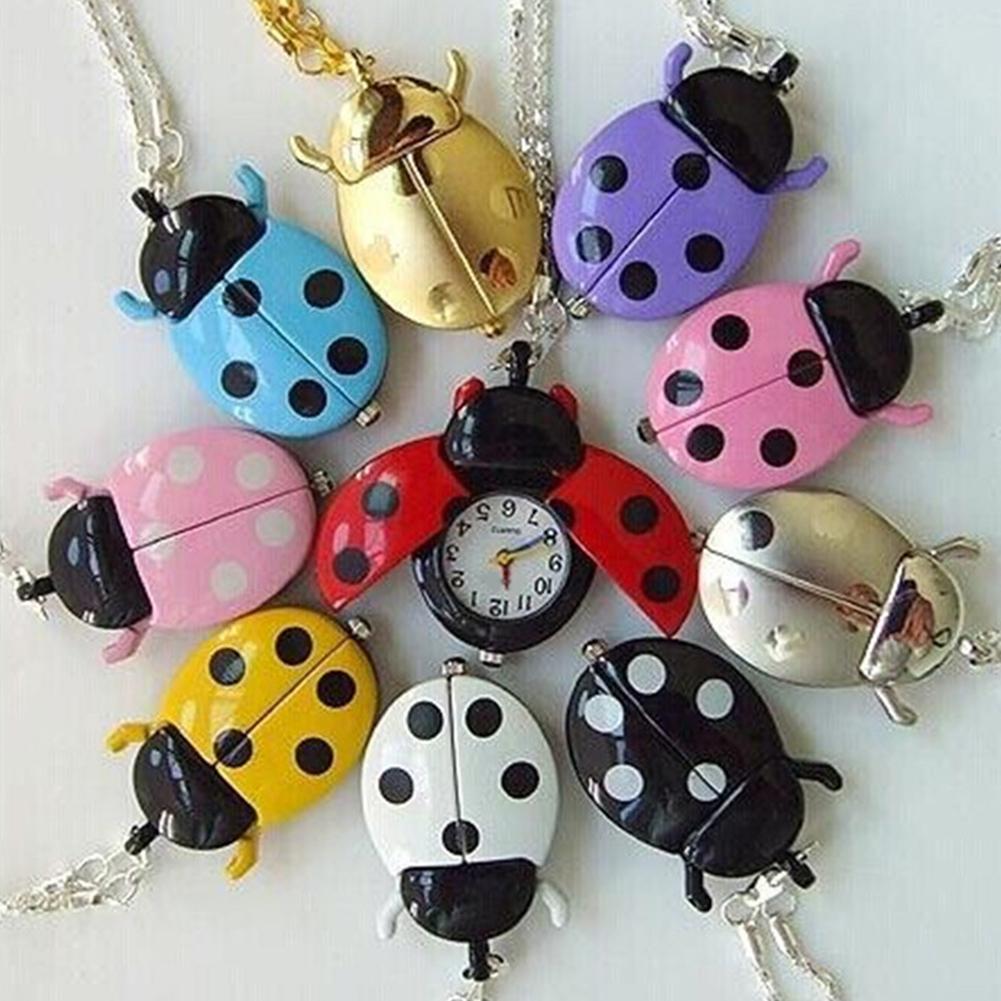Watch Reloj Retro Beetle Ladybug Shape Quartz Pockets Watch Necklace Pendant Unisex Gifts Hot Pockets Watch New Vintage Bronze S