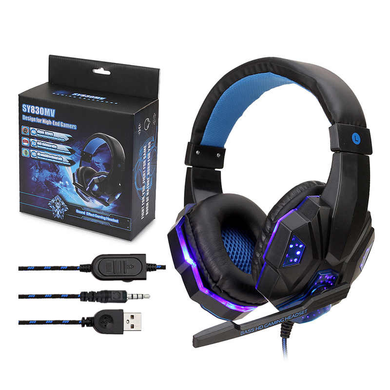 2.2M Gaming Headset 3.5 Mm Besar Headphone dengan Lampu MIC Stereo Earphone Deep Bass untuk Komputer PC Gamer Laptop PS4 Baru X-BOX