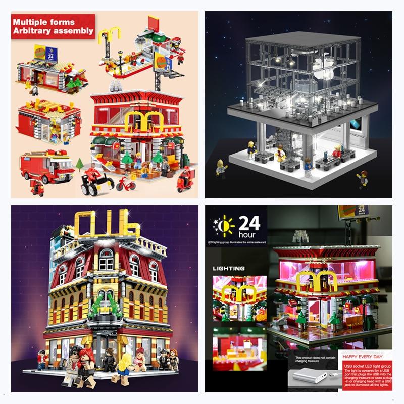 DHL SEMBO City Street SD6900 Apple Store SD6901 4in1 McDonaldss Restaurant House SD6991 Night Club Building Blocks Bricks Toys