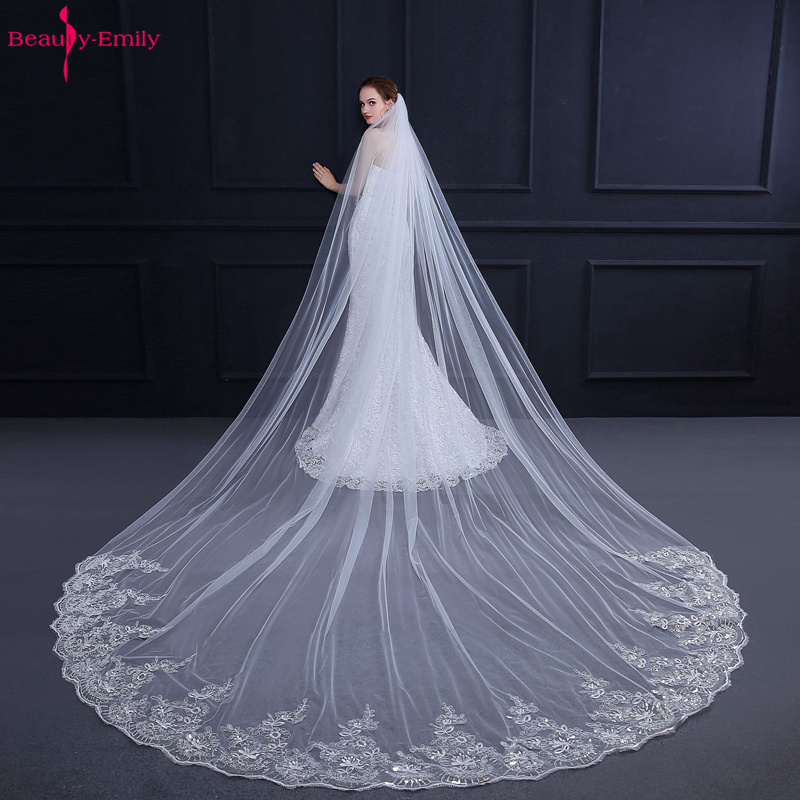 Beauty-Emily 2019 Long Wedding Veils White 3m Lace Embroidery Simple Style Bridal Veils Wedding Accessories Elegant For Bride