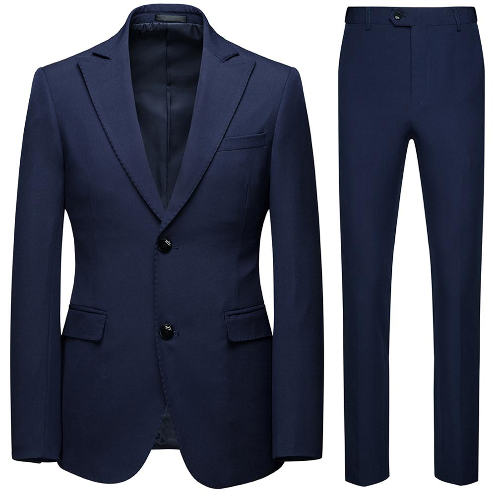 2019 High Quality Men Slim Suits Male Formal Business Casual 2pcs Wedding Suit Men's Fashion Jacket Pants Trousers Sets