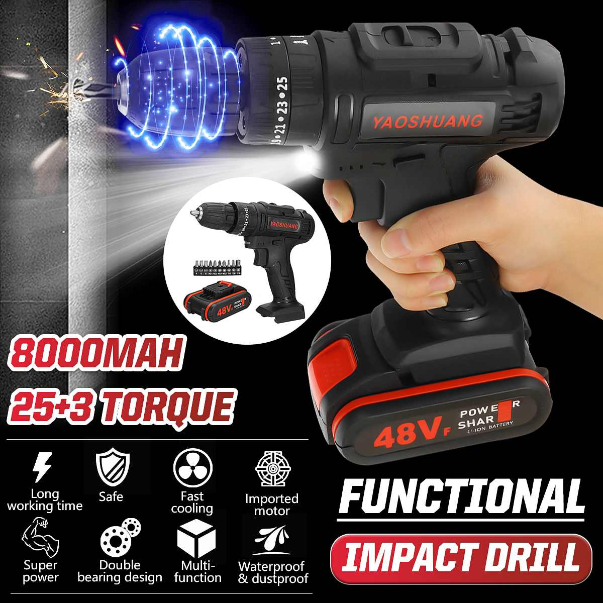 2 Battery 48V 3/8'' Cordless Rechargeable Electric Drill 2 Speed Impact Hammer Driver Battery Drill With 10Pcs Drill Bits Set