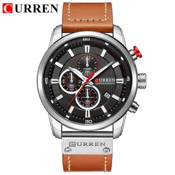 Ɩ�は、男性の高級ブランドカレンクロノグラフ男性スポーツ腕時計高品質のレザーストラップクォーツ腕時計レロジオ Masculino