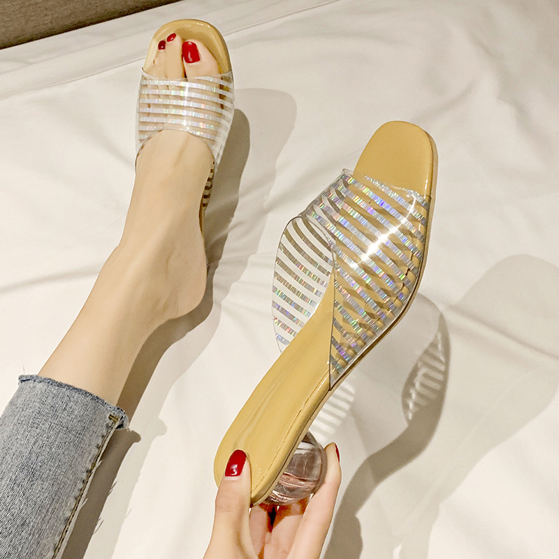 HOT Clear <font><b>Heels</b></font> <font><b>Slippers</b></font> <font><b>Women</b></font> Sandals Summer <font><b>Shoes</b></font> <font><b>Woman</b></font> Transparent <font><b>High</b></font> Pumps Wedding Jelly Buty Damskie <font><b>Sexy</b></font> Square Heels77 image