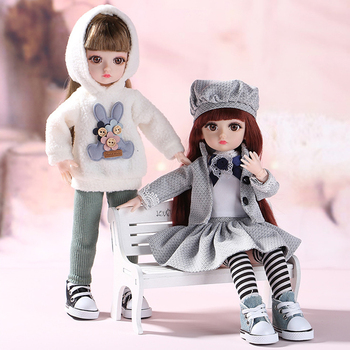 30cm BJD Doll Little Girl Cute Dress 15 Movable Jointed Dolls Princess Toys Fahion Dress Beauty BJD Hair DIY Toy Gift for Girls