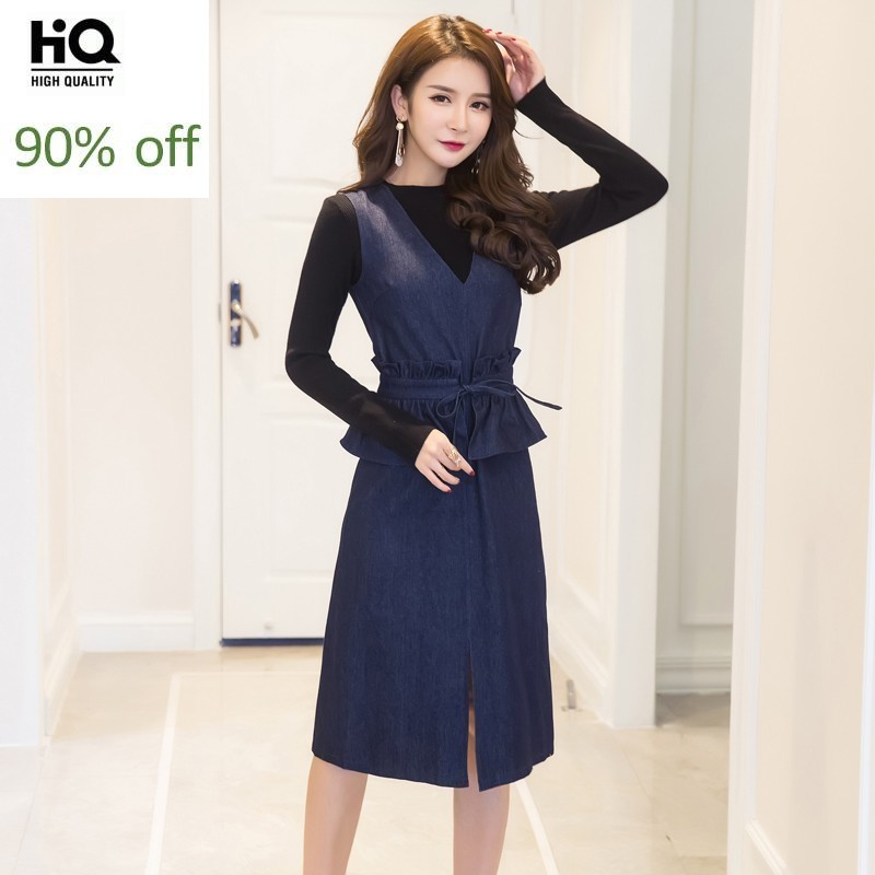 Women Spring New Ruffles Slim Waist Denim Knee Length Dress Black Sweater Pullover Female Two Piece Set Office Ladies Work Suits