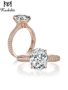Rose-Gold Rings Solitaire-Ring 100%Moissanite Engagement Promise Wedding Kuololit Women