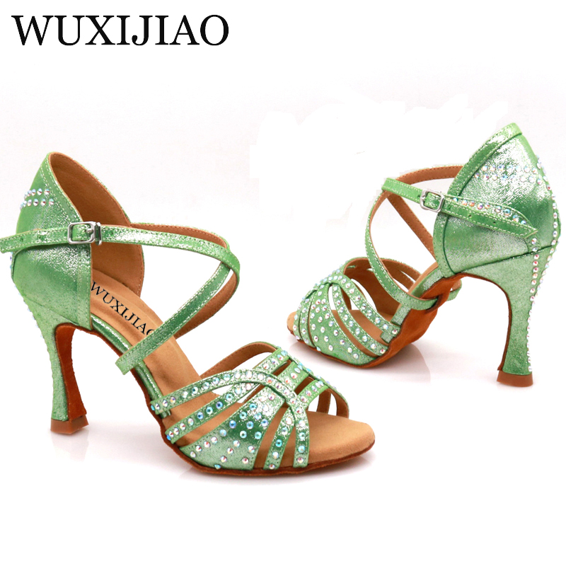 WUXIJIAO Women's Party Satin Dance Shoes Bright Rhinestones Soft Bottom Latin Dance Shoes Red / Blue Salsa Dance Shoes Heel 9cm