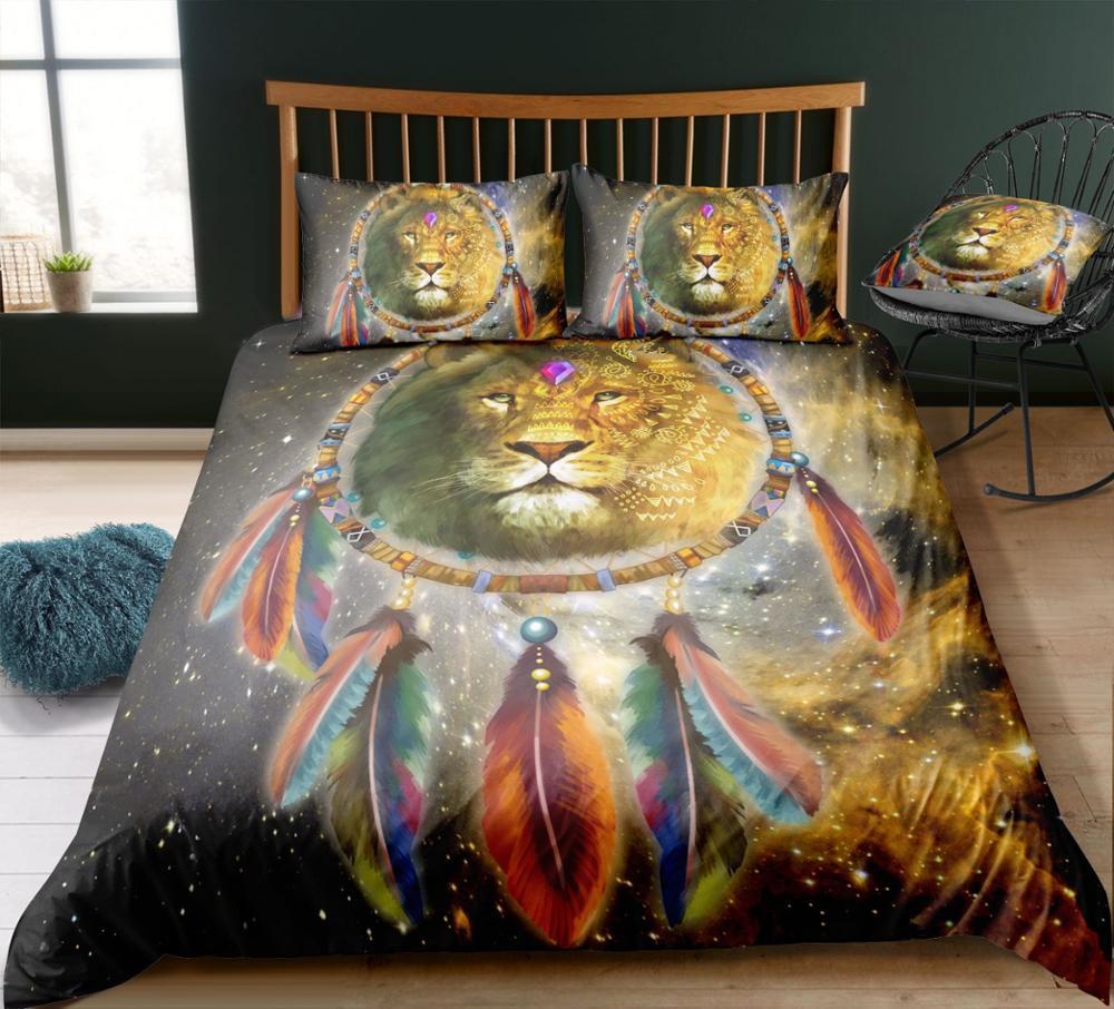 2/3 Pcs plume Lion animaux ensemble de literie avec taie d'oreiller Polyester imprimé linge de lit housse de couette housse de couette ensemble Textile à la maison