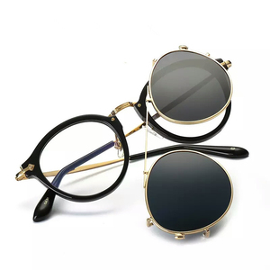 Image 1 - Fashion Round Glasses Clear Frame Women Spectacle Myopia Men EyeGlasses Optical Frames With Vintage Clip On Polarized Sunglasses