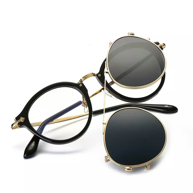Fashion Round Glasses Clear Frame Women Spectacle Myopia Men EyeGlasses Optical Frames With Vintage Clip On Polarized Sunglasses