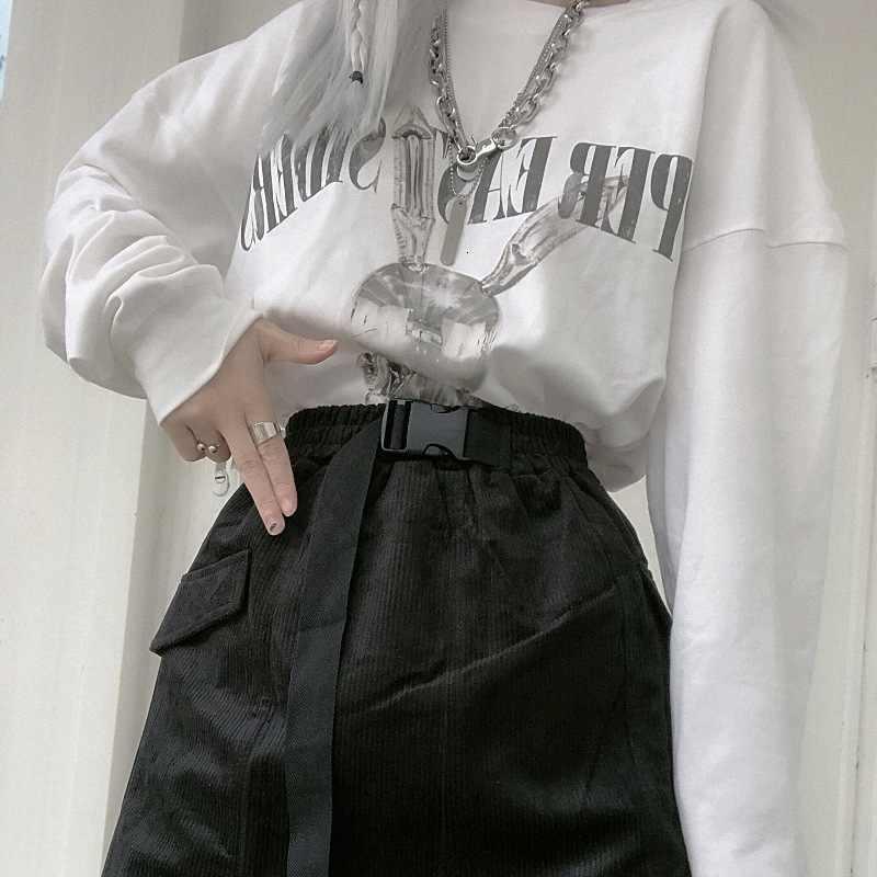 Japon et corée du sud hiver nouveau Harajuku velours côtelé fausse poche boucle outillage fonction taille élastique un mot jupe femme jupe