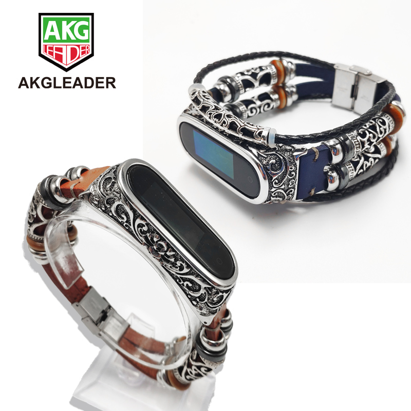 AKGLEADER For Xiaomi Mi Band 3 Nfc Retro Watch Band Genuine Leather With Jewelry Wrist Strap Metal Engrave Case For Miband 3