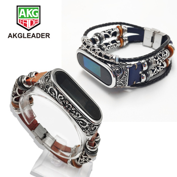 AKGLEADER For Xiaomi Mi Band 4 3 nfc Retro Watch Band Genuine Leather With Jewelry Wrist Strap Metal Engrave Case For Miband 3 4