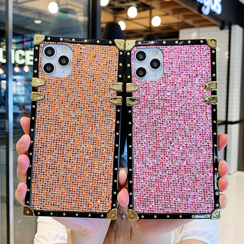 Luxury Square Glitter Crystal Holder Phone Case For Huawei P30 lite P40 Pro Honor 8X 9X Y9 2019 Bling Shining Diamond Back Cover