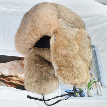Handmade Men Winter Real Rabbit Fur Bomber Hat Outdoor Super Warm 100% Natural Rabbit Fur Hats Full Pelt Genuine Rabbit Fur Cap