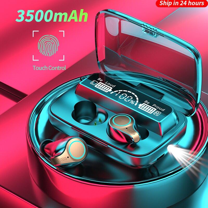 Беспроводные наушники MLHJ, Bluetooth-наушники, 3500 мАч, светодиодный дисплей, спортивные водонепроницаемые наушники-вкладыши, Hi-Fi стерео гарнитур...